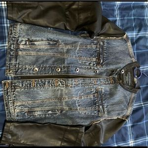 Zara men's moto Jean jacket with faux leather.